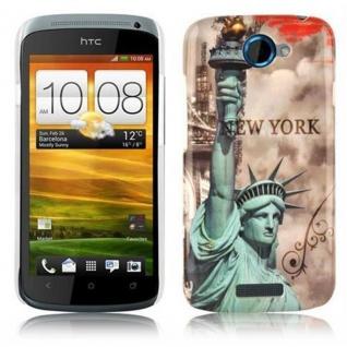 Cadorabo - Hard Cover für HTC ONE S - Case Cover Schutzhülle Bumper im Design: NEW YORK - FREIHEITSSTATUE