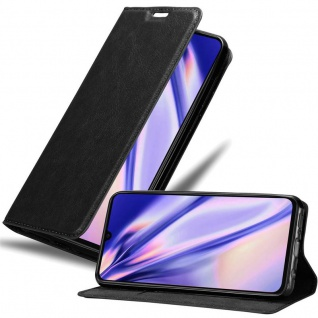 Cadorabo Hülle für Xiaomi Mi 9 in NACHT SCHWARZ - Handyhülle mit Magnetverschluss, Standfunktion und Kartenfach - Case Cover Schutzhülle Etui Tasche Book Klapp Style