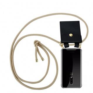 Cadorabo Handy Kette für OnePlus 6T in GLÄNZEND BRAUN Silikon Necklace Umhänge Hülle mit Gold Ringen, Kordel Band Schnur und abnehmbarem Etui Schutzhülle
