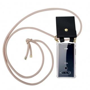 Cadorabo Handy Kette für LG V40 in PERLIG ROSÉGOLD - Silikon Necklace Umhänge Hülle mit Gold Ringen, Kordel Band Schnur und abnehmbarem Etui ? Schutzhülle