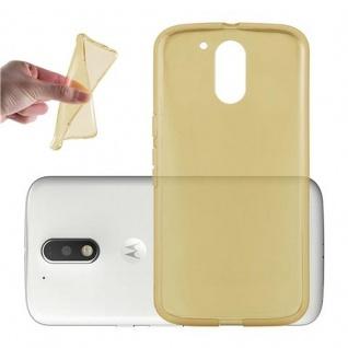 Cadorabo Hülle für Motorola MOTO G4 / G4 PLUS in TRANSPARENT GOLD - Handyhülle aus flexiblem TPU Silikon - Silikonhülle Schutzhülle Ultra Slim Soft Back Cover Case Bumper
