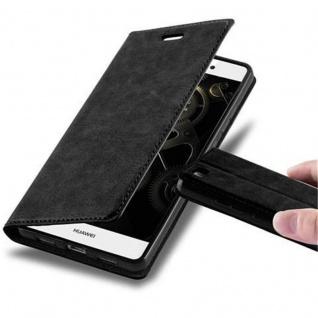Cadorabo Hülle für Huawei P8 LITE 2015 in NACHT SCHWARZ - Handyhülle mit Magnetverschluss, Standfunktion und Kartenfach - Case Cover Schutzhülle Etui Tasche Book Klapp Style