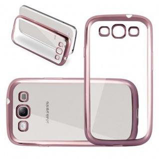Cadorabo Hülle für Samsung Galaxy S3 / S3 NEO - Hülle in TRANSPARENT mit CHROM ROSEGOLD - Handyhülle aus TPU Silikon im Chrom Design - Silikonhülle Schutzhülle Ultra Slim Soft Back Cover Case Bumper