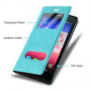 Cadorabo Hülle für Huawei P7 in MINT TÜRKIS ? Handyhülle mit Magnetverschluss, Standfunktion und 2 Sichtfenstern ? Case Cover Schutzhülle Etui Tasche Book Klapp Style - Vorschau 3