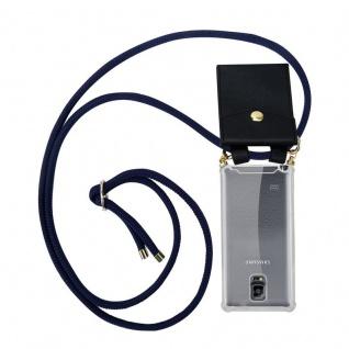 Cadorabo Handy Kette für Samsung Galaxy NOTE 4 in TIEF BLAU - Silikon Necklace Umhänge Hülle mit Gold Ringen, Kordel Band Schnur und abnehmbarem Etui ? Schutzhülle