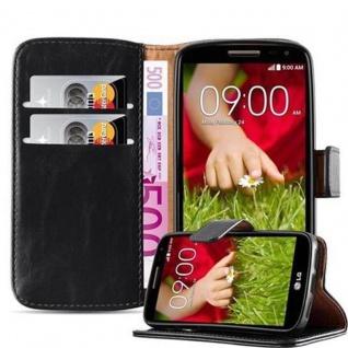 Cadorabo Hülle für LG G2 MINI in GRAPHIT SCHWARZ ? Handyhülle mit Magnetverschluss, Standfunktion und Kartenfach ? Case Cover Schutzhülle Etui Tasche Book Klapp Style