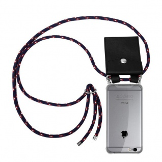 Cadorabo Handy Kette für Apple iPhone 6 PLUS / iPhone 6S PLUS in BLAU ROT WEISS GEPUNKTET Silikon Necklace Umhänge Hülle mit Silber Ringen, Kordel Band Schnur und abnehmbarem Etui Schutzhülle