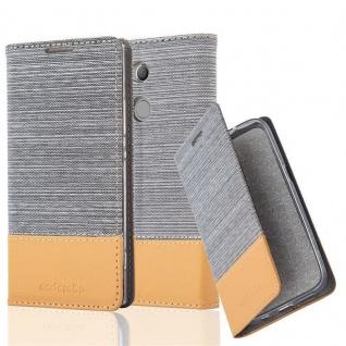Cadorabo Hülle für Sony Xperia XA2 ULTRA in HELL GRAU BRAUN - Handyhülle mit Magnetverschluss, Standfunktion und Kartenfach - Case Cover Schutzhülle Etui Tasche Book Klapp Style