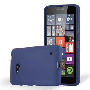 Cadorabo Hülle für Nokia Lumia 640 in FROST DUNKEL BLAU - Handyhülle aus flexiblem TPU Silikon - Silikonhülle Schutzhülle Ultra Slim Soft Back Cover Case Bumper