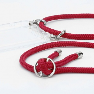 Cadorabo Handy Kette für OnePlus 5 in RUBIN ROT - Silikon Necklace Umhänge Hülle mit Silber Ringen, Kordel Band Schnur und abnehmbarem Etui - Schutzhülle - Vorschau 2