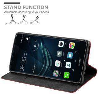Cadorabo Hülle für Huawei P9 PLUS in APFEL ROT Handyhülle mit Magnetverschluss, Standfunktion und Kartenfach Case Cover Schutzhülle Etui Tasche Book Klapp Style - Vorschau 4
