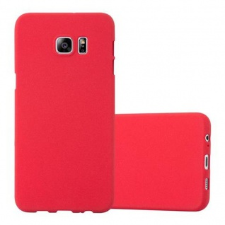 Cadorabo Hülle für Samsung Galaxy S6 EDGE PLUS - Hülle in FROST ROT ? Handyhülle aus TPU Silikon im matten Frosted Design - Ultra Slim Soft Backcover Case Bumper
