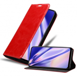 Cadorabo Hülle für Oppo A72 in APFEL ROT Handyhülle mit Magnetverschluss, Standfunktion und Kartenfach Case Cover Schutzhülle Etui Tasche Book Klapp Style