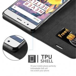 Cadorabo Hülle für OnePlus 3 / 3T in NACHT SCHWARZ - Handyhülle mit Magnetverschluss, Standfunktion und Kartenfach - Case Cover Schutzhülle Etui Tasche Book Klapp Style - Vorschau 3