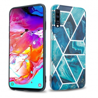 Cadorabo Hülle für Samsung Galaxy A70 Hülle in Blaue Welle Marmor No.13 Handyhülle aus TPU Silikon mit Muster Mosaik Silikonhülle Schutzhülle Ultra Slim Back Cover Case Bumper