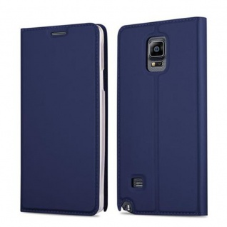 Cadorabo Hülle für Samsung Galaxy NOTE 4 in CLASSY DUNKEL BLAU - Handyhülle mit Magnetverschluss, Standfunktion und Kartenfach - Case Cover Schutzhülle Etui Tasche Book Klapp Style