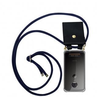 Cadorabo Handy Kette für Motorola MOTO Z2 FORCE in TIEF BLAU - Silikon Necklace Umhänge Hülle mit Gold Ringen, Kordel Band Schnur und abnehmbarem Etui ? Schutzhülle