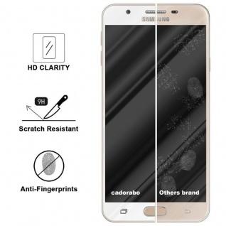 Cadorabo Vollbild Panzer Folie für Samsung Galaxy J7 PRIME / ON7 2016 - Schutzfolie in TRANSPARENT mit WEISS - Gehärtetes (Tempered) Display-Schutzglas in 9H Härte mit 3D Touch Kompatibilität - Vorschau 3