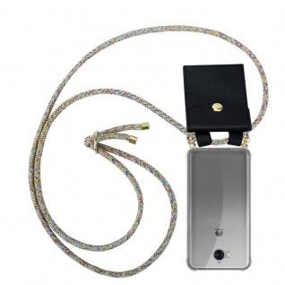Cadorabo Handy Kette für Huawei Y6 2017 in RAINBOW Silikon Necklace Umhänge Hülle mit Gold Ringen, Kordel Band Schnur und abnehmbarem Etui Schutzhülle