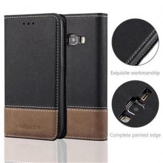 Cadorabo Hülle für Samsung Galaxy J1 2016 in SCHWARZ BRAUN ? Handyhülle mit Magnetverschluss, Standfunktion und Kartenfach ? Case Cover Schutzhülle Etui Tasche Book Klapp Style