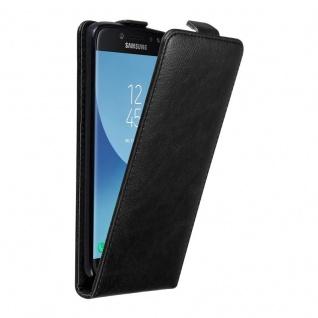 Cadorabo Hülle für Samsung Galaxy J7 2017 in NACHT SCHWARZ Handyhülle im Flip Design mit unsichtbarem Magnetverschluss Case Cover Schutzhülle Etui Tasche Book Klapp Style