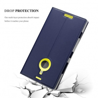 Cadorabo Hülle für Nokia Lumia 1520 in CLASSY DUNKEL BLAU - Handyhülle mit Magnetverschluss, Standfunktion und Kartenfach - Case Cover Schutzhülle Etui Tasche Book Klapp Style - Vorschau 5