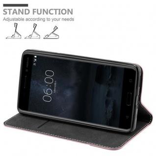 Cadorabo Hülle für Nokia 6 2017 in GOLD SCHWARZ ? Handyhülle mit Magnetverschluss, Standfunktion und Kartenfach ? Case Cover Schutzhülle Etui Tasche Book Klapp Style - Vorschau 3