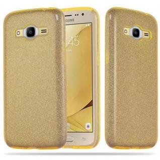 Cadorabo Hülle für Samsung Galaxy J2 2016 (6) - Hülle in STERNENSTAUB GOLD - TPU Silikon und Hardcase Handyhülle im Glitzer Design - Hard Case TPU Silikon Schutzhülle