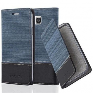 Cadorabo Hülle für Samsung Galaxy ALPHA in DUNKEL BLAU SCHWARZ - Handyhülle mit Magnetverschluss, Standfunktion und Kartenfach - Case Cover Schutzhülle Etui Tasche Book Klapp Style