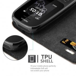 Cadorabo Hülle für Nokia 105 DUAL in KAFFEE BRAUN - Handyhülle mit Magnetverschluss, Standfunktion und Kartenfach - Case Cover Schutzhülle Etui Tasche Book Klapp Style - Vorschau 3