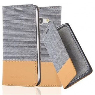 Cadorabo Hülle für Samsung Galaxy J1 2015 in HELL GRAU BRAUN - Handyhülle mit Magnetverschluss, Standfunktion und Kartenfach - Case Cover Schutzhülle Etui Tasche Book Klapp Style