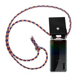 Cadorabo Handy Kette für Samsung Galaxy A90 5G in ORANGE BLAU WEISS Silikon Necklace Umhänge Hülle mit Silber Ringen, Kordel Band Schnur und abnehmbarem Etui Schutzhülle