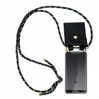 Cadorabo Handy Kette für Huawei P10 PLUS in CAMOUFLAGE Silikon Necklace Umhänge Hülle mit Gold Ringen, Kordel Band Schnur und abnehmbarem Etui Schutzhülle