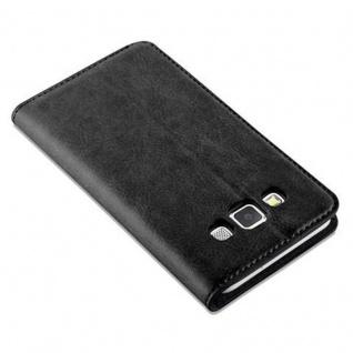 Cadorabo Hülle für Samsung Galaxy A3 2015 in NACHT SCHWARZ - Handyhülle mit Magnetverschluss, Standfunktion und Kartenfach - Case Cover Schutzhülle Etui Tasche Book Klapp Style - Vorschau 5