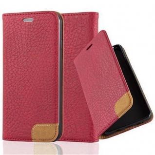 Cadorabo Hülle für Apple iPhone 7 / iPhone 7S / iPhone 8 - Hülle in ABEND ROT - Handyhülle mit Standfunktion, Kartenfach und Textil-Patch - Case Cover Schutzhülle Etui Tasche Book Klapp Style