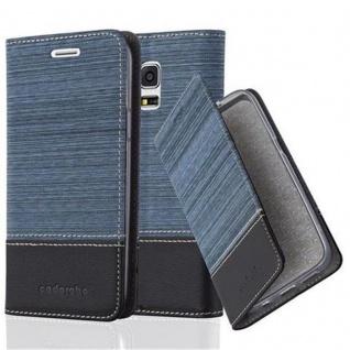 Cadorabo Hülle für Samsung Galaxy S5 MINI / S5 MINI DUOS in DUNKEL BLAU SCHWARZ - Handyhülle mit Magnetverschluss, Standfunktion und Kartenfach - Case Cover Schutzhülle Etui Tasche Book Klapp Style
