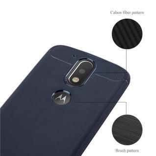 Cadorabo Hülle für Motorola MOTO G4 / MOTO G4 PLUS - Hülle in BRUSHED BLAU ? Handyhülle aus TPU Silikon in Edelstahl-Karbonfaser Optik - Silikonhülle Schutzhülle Ultra Slim Soft Back Cover Case Bumper - Vorschau 4