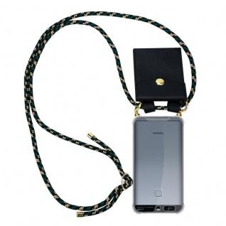 Cadorabo Handy Kette für Huawei P9 in CAMOUFLAGE ? Silikon Necklace Umhänge Hülle mit Gold Ringen, Kordel Band Schnur und abnehmbarem Etui ? Schutzhülle