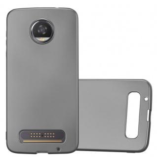 Cadorabo Hülle für Motorola MOTO Z2 in METALLIC GRAU - Handyhülle aus flexiblem TPU Silikon - Silikonhülle Schutzhülle Ultra Slim Soft Back Cover Case Bumper