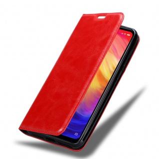 Cadorabo Hülle für Xiaomi RedMi NOTE 7 in APFEL ROT - Handyhülle mit Magnetverschluss, Standfunktion und Kartenfach - Case Cover Schutzhülle Etui Tasche Book Klapp Style