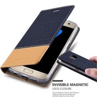 Cadorabo Hülle für Samsung Galaxy S7 in DUNKEL BLAU BRAUN - Handyhülle mit Magnetverschluss, Standfunktion und Kartenfach - Case Cover Schutzhülle Etui Tasche Book Klapp Style