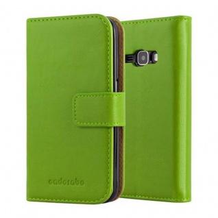 Cadorabo Hülle für Samsung Galaxy J1 2016 in GRAS GRÜN ? Handyhülle mit Magnetverschluss, Standfunktion und Kartenfach ? Case Cover Schutzhülle Etui Tasche Book Klapp Style