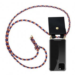 Cadorabo Handy Kette für Apple iPhone 11 PRO MAX (XI PRO MAX) in ORANGE BLAU WEISS - Silikon Necklace Umhänge Hülle mit Gold Ringen, Kordel Band Schnur und abnehmbarem Etui - Schutzhülle