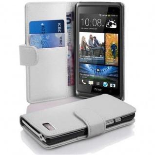 Cadorabo Hülle für HTC DESIRE 600 in MAGNESIUM WEIß ? Handyhülle aus strukturiertem Kunstleder mit Standfunktion und Kartenfach ? Case Cover Schutzhülle Etui Tasche Book Klapp Style