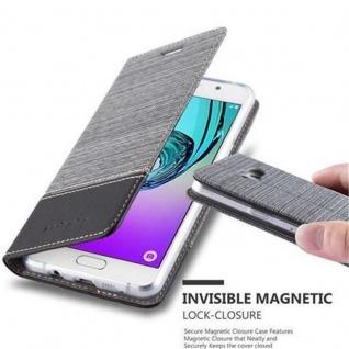 Cadorabo Hülle für Samsung Galaxy A5 2016 in GRAU SCHWARZ - Handyhülle mit Magnetverschluss, Standfunktion und Kartenfach - Case Cover Schutzhülle Etui Tasche Book Klapp Style