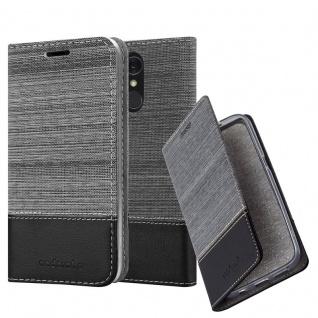 Cadorabo Hülle für LG Q7a in GRAU SCHWARZ - Handyhülle mit Magnetverschluss, Standfunktion und Kartenfach - Case Cover Schutzhülle Etui Tasche Book Klapp Style