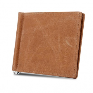 Cadorabo Leder Geldbeutel in BRAUN ? Ultra dünnes Portemonnaie aus Leder mit 6 Kartenfächern und Geldklammer für Scheine ? Portmonee Geldbörse Etui Brieftasche Wallet Clip