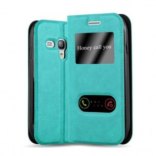 Cadorabo Hülle für Samsung Galaxy S3 MINI in MINT TÜRKIS ? Handyhülle mit Magnetverschluss, Standfunktion und 2 Sichtfenstern ? Case Cover Schutzhülle Etui Tasche Book Klapp Style