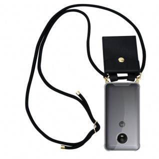 Cadorabo Handy Kette für Motorola MOTO E4 in SCHWARZ - Silikon Necklace Umhänge Hülle mit Gold Ringen, Kordel Band Schnur und abnehmbarem Etui ? Schutzhülle