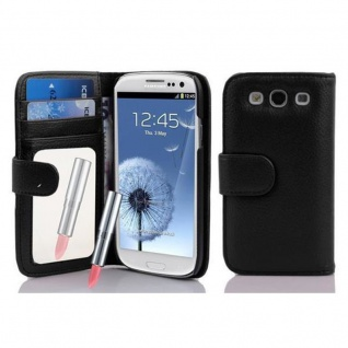 Cadorabo Hülle für Samsung Galaxy S3 / S3 NEO - Hülle in LAVA SCHWARZ ? Handyhülle mit Spiegel und Kartenfach - Case Cover Schutzhülle Etui Tasche Book Klapp Style